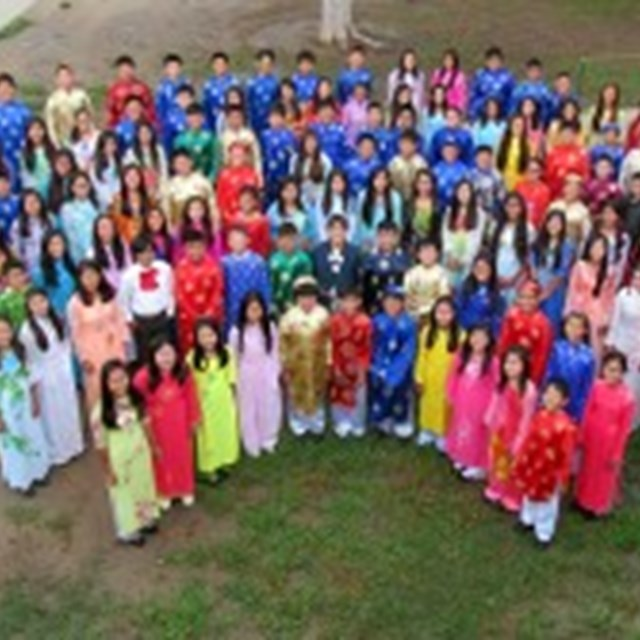 Orchestra wore their elegant ao dai for the group photo.